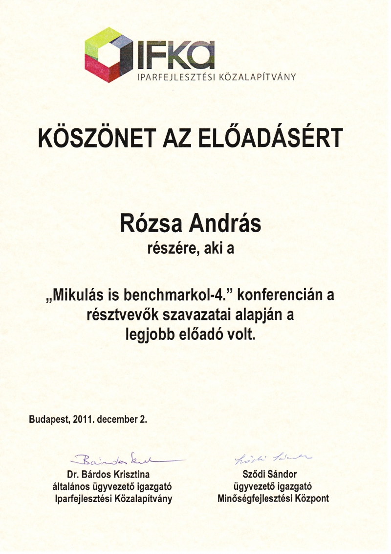 Rózsa András lett a Konferencia legjobb előadója