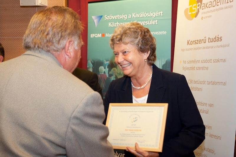 Az év Partnere 2010 elismerés az ISO 9000 FÓRUM-nak