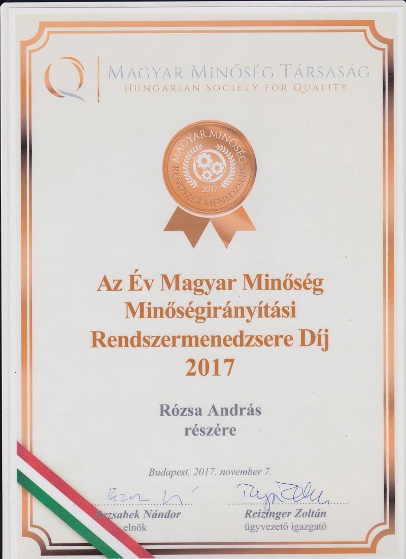 A 2017-es év Magyar Minőség Minőségirányítási Rendszermenedzsere  Rózsa András!