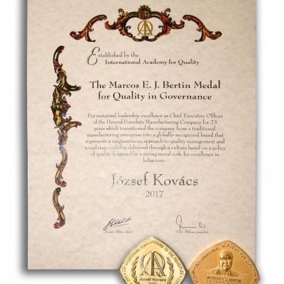 Kovács József nemzetközi IAQ kitüntetése
