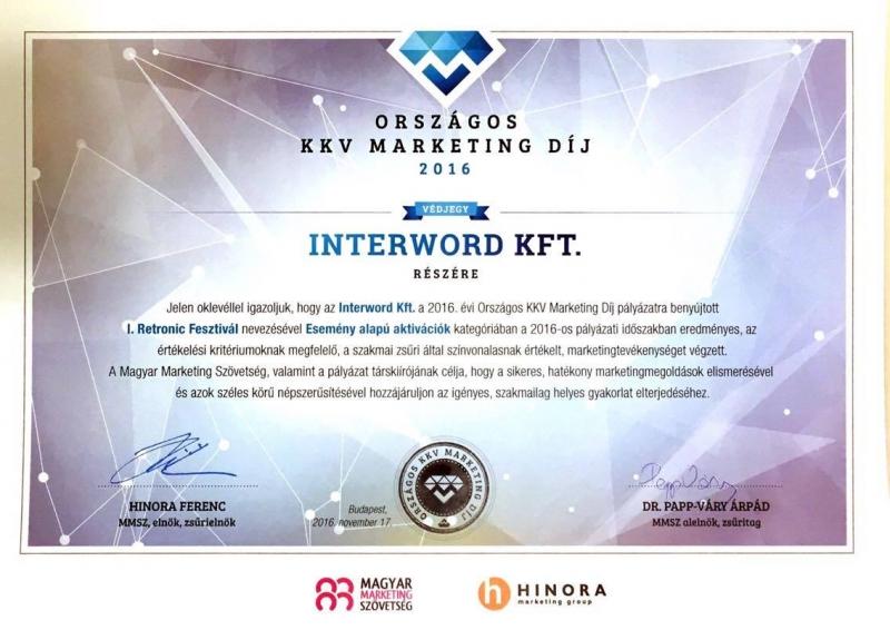 Az interword kft-t idén is elismerték Magyarország két rangos marketingkommunikációs pályázatán